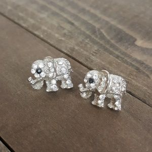 🌟 Elephant Rhinestone Silver Earrings